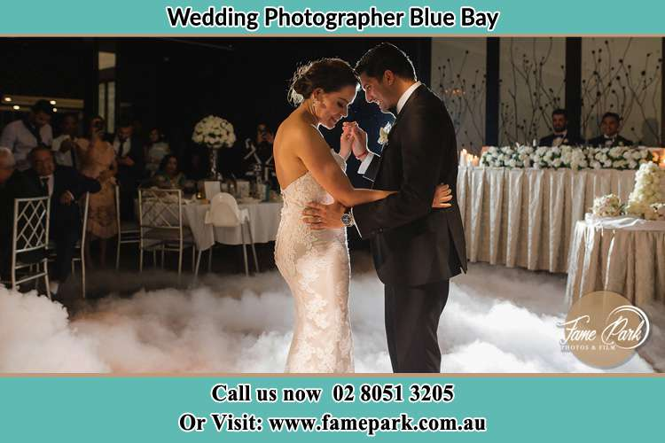 Photo of the Bride and the Groom dancing on the dance floor Blue Bay NSW 2261