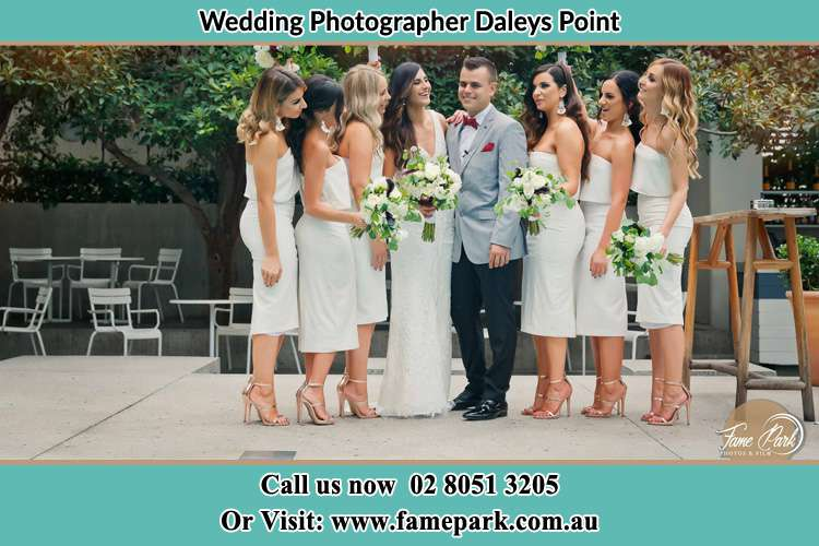 Photo of the Groom and Bride with their bridesmaids Daleys Point