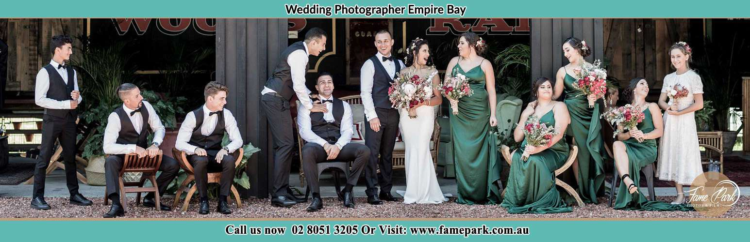 Photo of the Groom and the Bride with the entourage Empire Bay NSW 2257