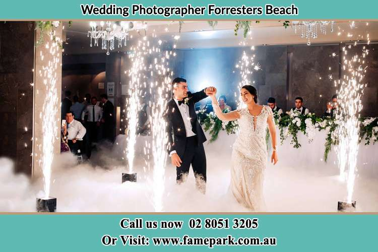 Photo of the Groom and the Bride dancing on the dance floor Forresters Beach NSW 2260