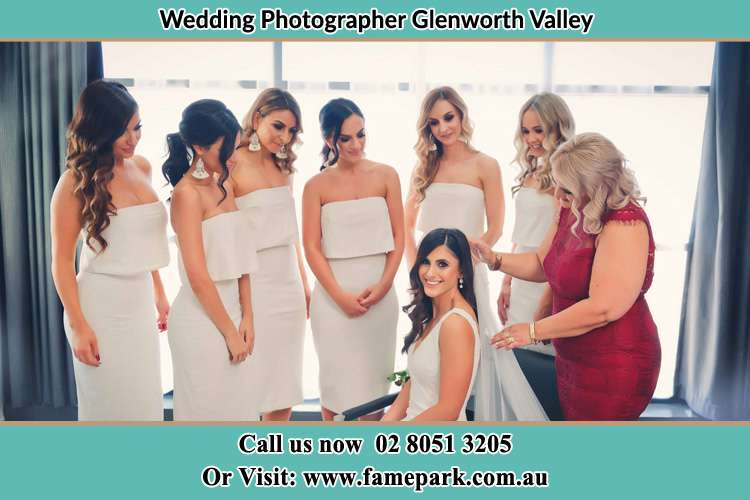 Photo of the Bride and the secondary sponsor preparing Glenworth Valley NSW 2250