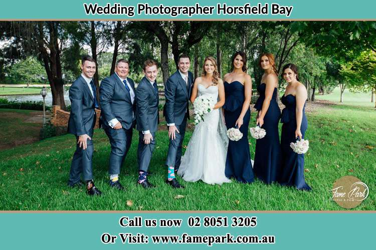 Photo of the Groom and the Bride with the entourage Horsfield Bay NSW 2256