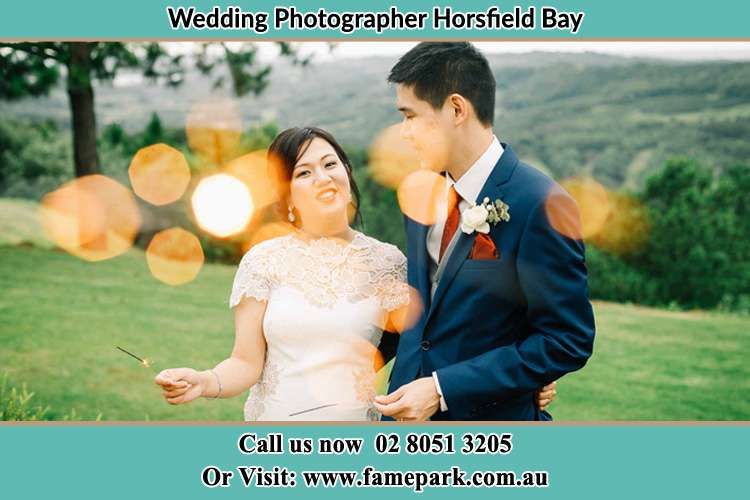 Photo of the Groom and the Bride having a nice chat at the yard Horsfield Bay