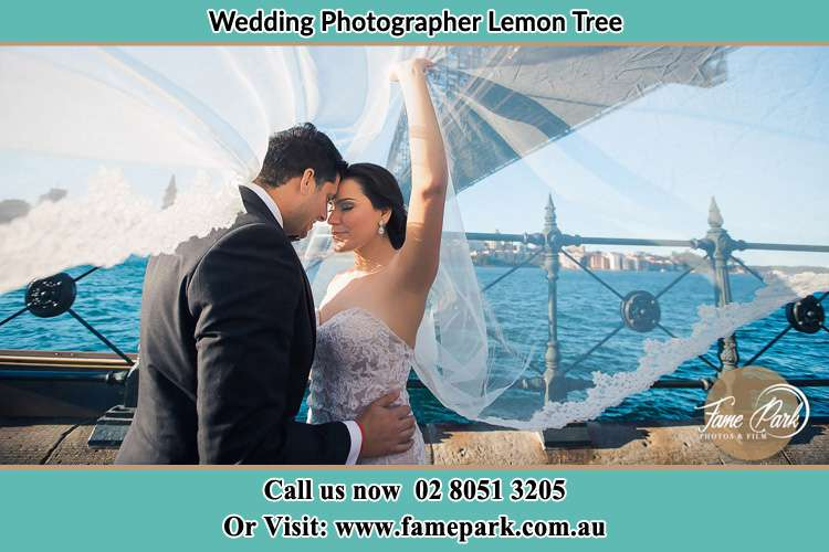 Photo of the Groom and the Bride kissing Lemon Tree NSW 2259