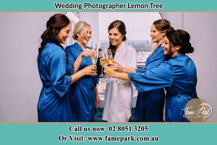 Photo of the Bride and the bridesmaids having wine Lemon Tree NSW 2259