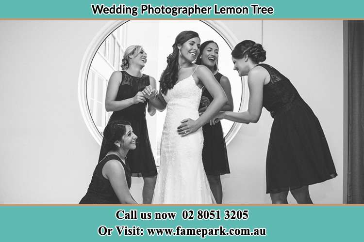 Photo of the Bride and the bridesmaids near the window Lemon Tree NSW 2259