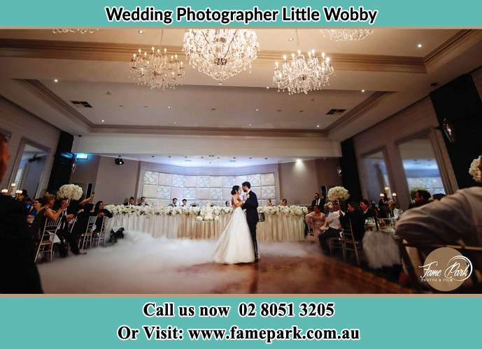Photo of the Bride and the Groom dancing on the dance floor Little Wobby NSW 2256