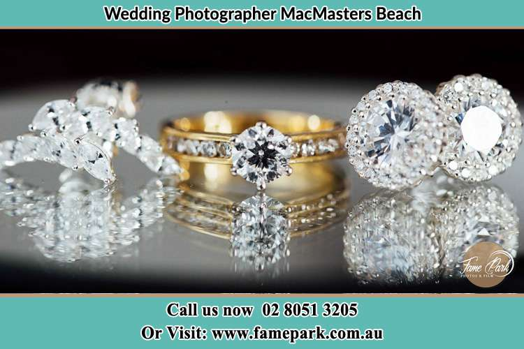 Photo of the Bride's cliff, ring and earrings MacMasters Beach NSW 2251