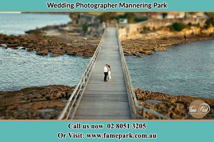 Photo of the Groom and the Bride at the bridge Mannering Park NSW 2250