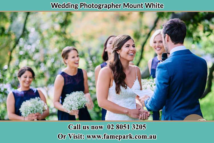 Photo of the Groom testifying love to the Bride Mount White NSW 2250