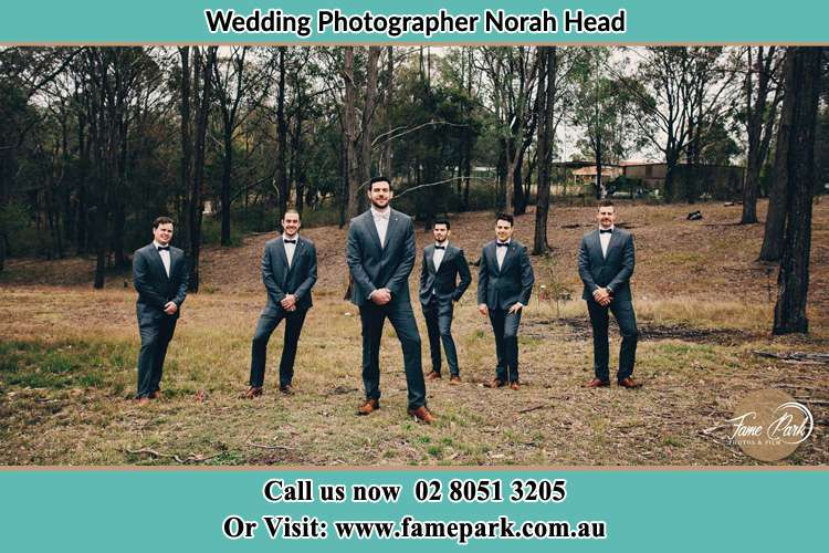 Photo of the Groom and the groomsmen Norah Head NSW 2263