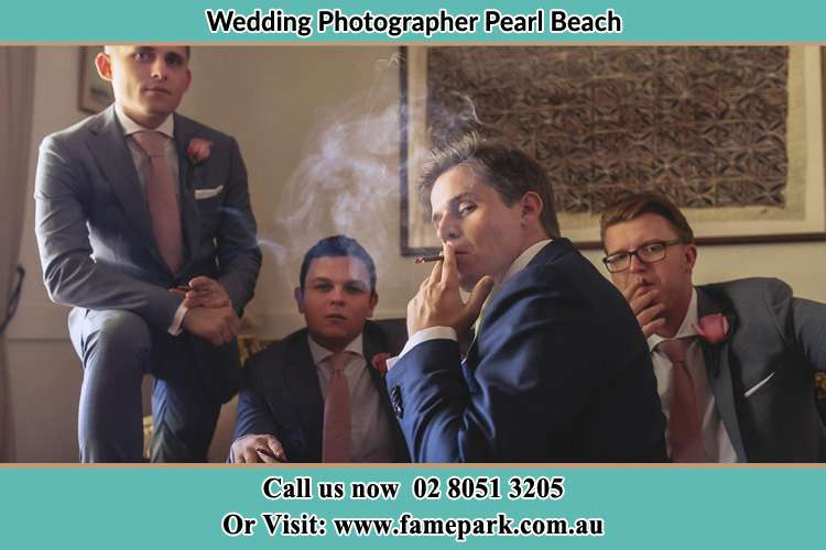Photo of the Groom and the groomsmen relaxing Pearl Beach NSW 2256