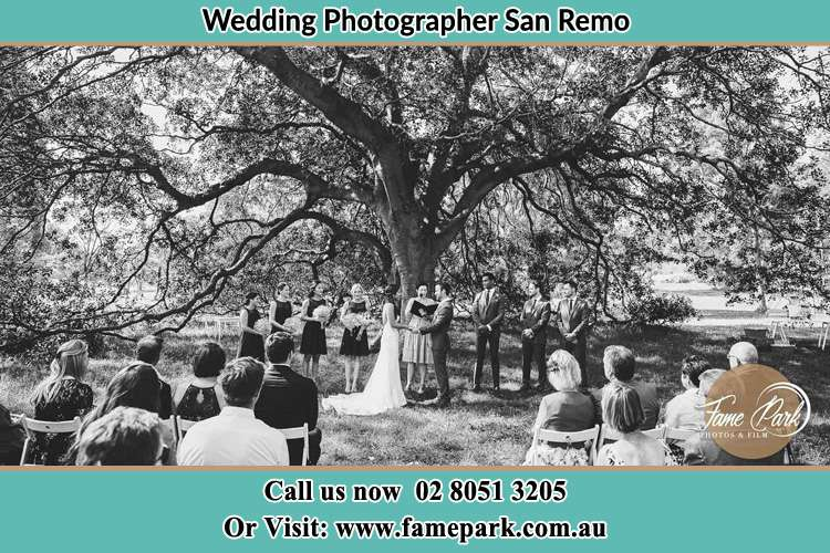 Wedding ceremony under the big tree photo San Remo NSW 2262