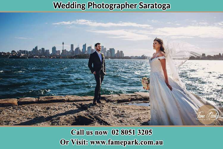 Photo of the Groom and the Bride at the sea front Saratoga NSW 2251