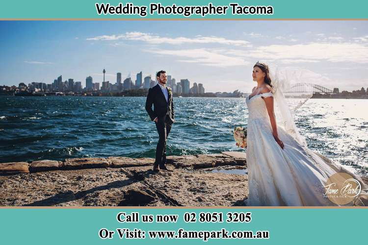 Photo of the Groom and the Bride at the sea front Tacoma NSW 2259