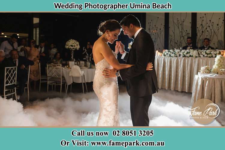 Photo of the Bride and the Groom dancing on the dance floor Umina Beach NSW 2257