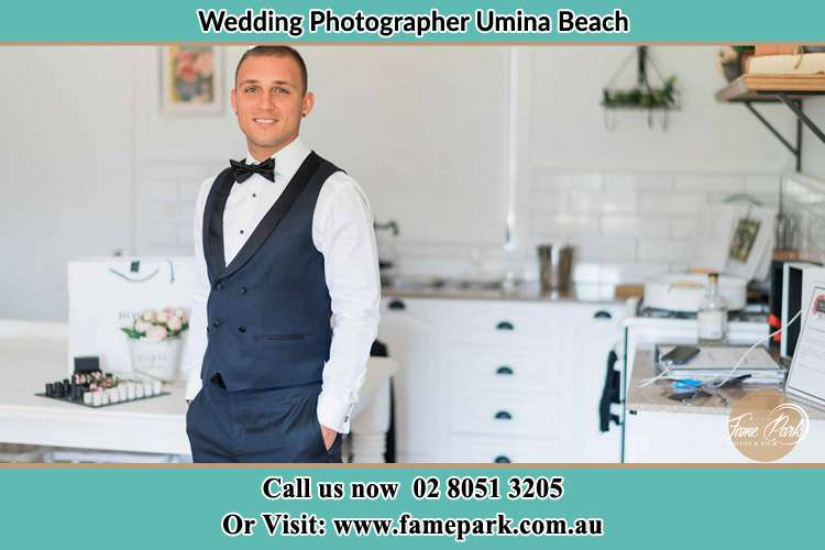 Photo of the Groom smiling Umina Beach NSW 2257