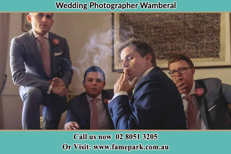 Photo of the Groom and the groomsmen relaxing Wamberal NSW 2260