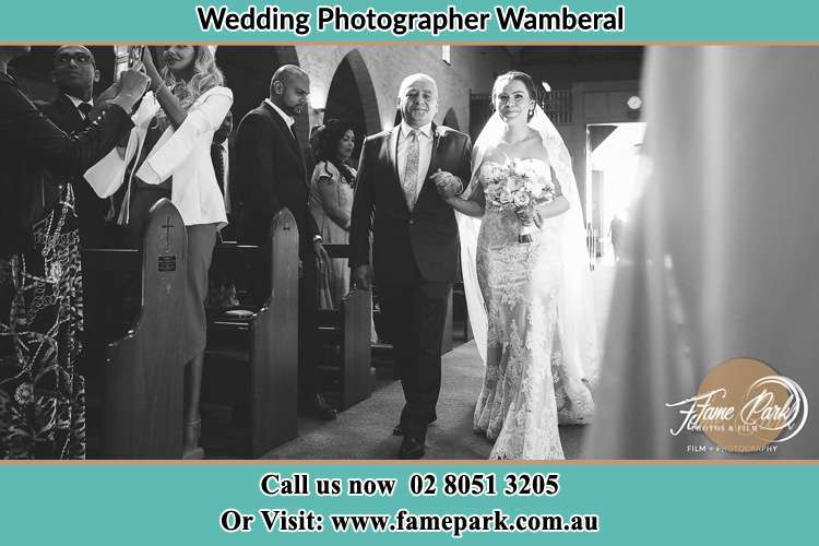 Photo of the Bride with her father walking the aisle Wamberal NSW 2260