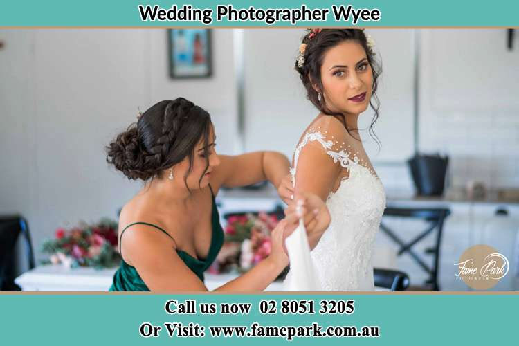 Photo of the Bride and the bridesmaid getting ready Wyee NSW 2259