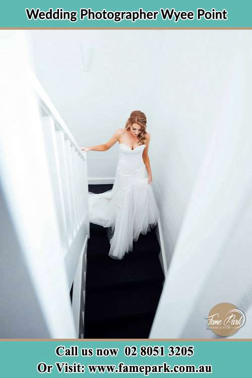 Photo of the Bride going down the stair Wyee Point NSW 2259